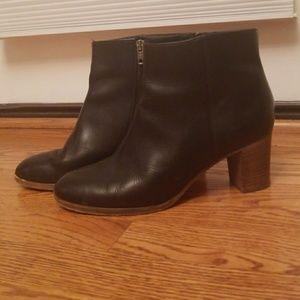 J.Crew black leather heeled booties 8.5